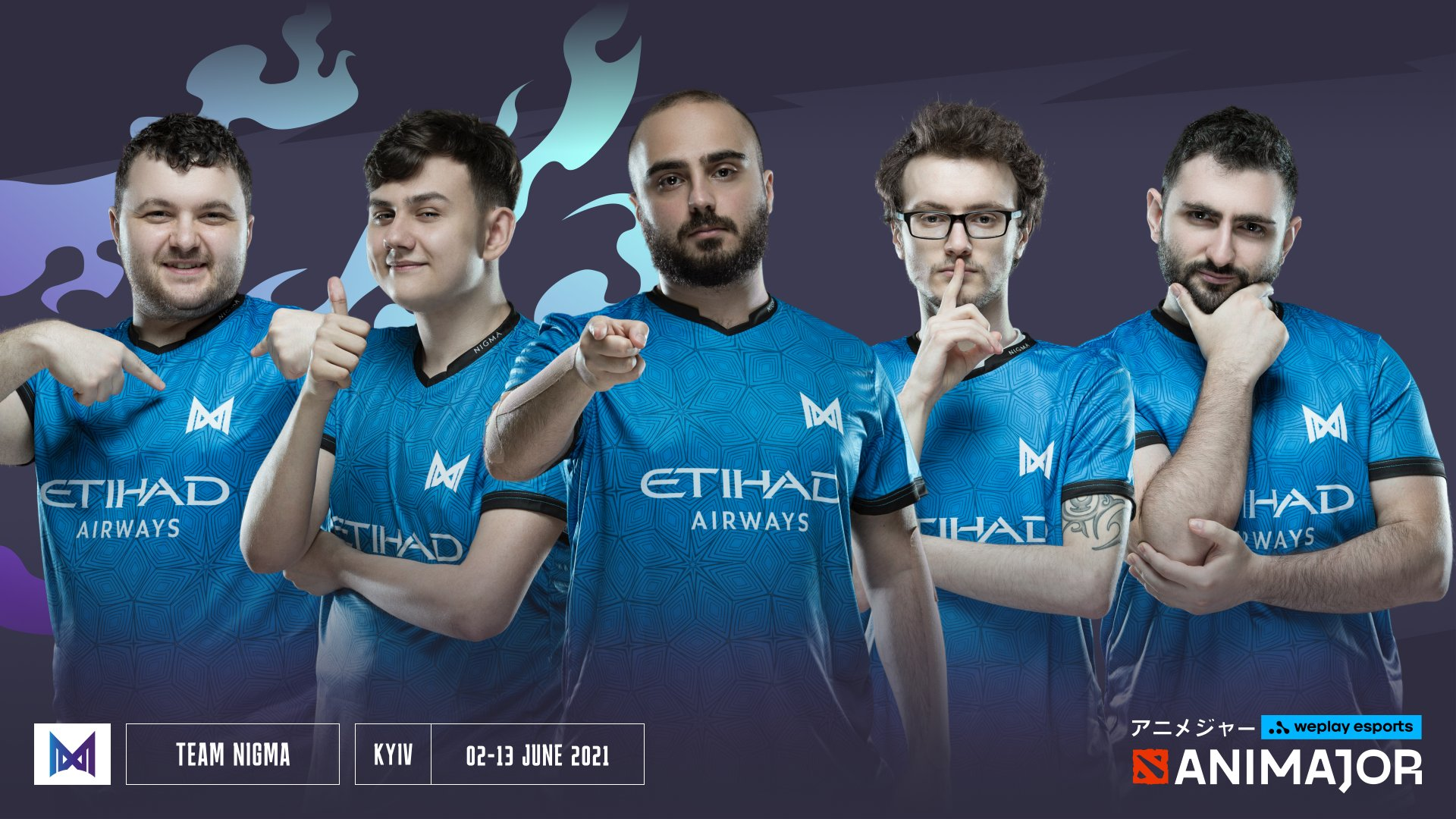 Team photo of Nigma courtesy of WePlay!.