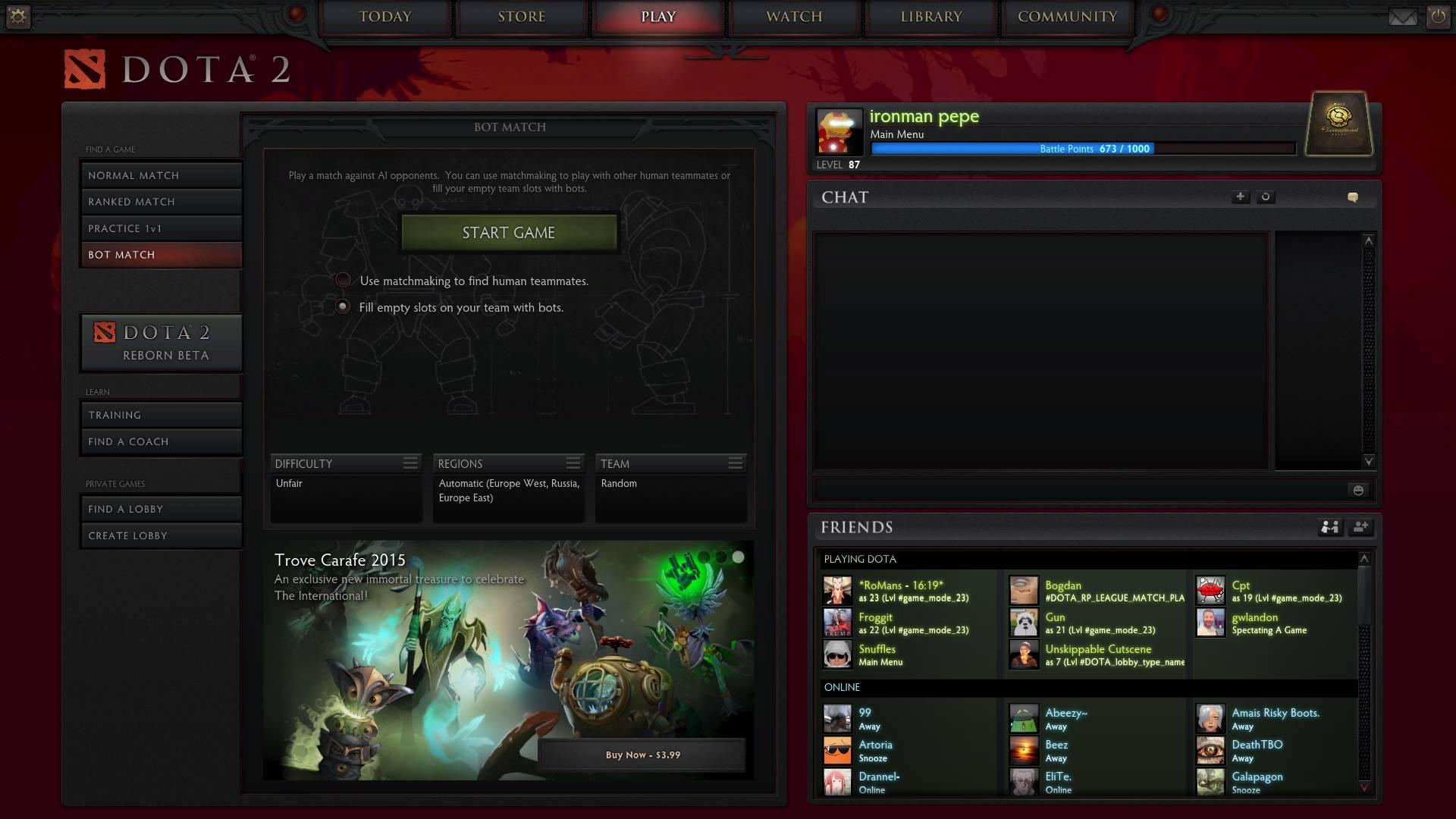 Screenshot of the 6.84 menu.